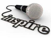 Inspirez l'exposé d'orientation de haut-parleur de motivation de corde de Word de microphone Images stock