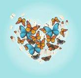 Inspirierend Karte des kreativen Vektors Fliegenschmetterlinge in Form von Herzen auf einem netten Weinleseblauhintergrund Stockbilder