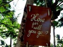 Inspirierend Motivationszitat, wie weit Sie auf einen Seufzer gehen, der im Baum hängt Stockbild