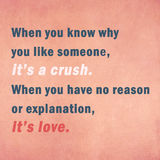Inspirierend Motivierungszitat über Liebe auf altem Papier Lizenzfreie Stockbilder