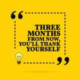 Inspirierend Motivzitat Drei Monate ab jetzt, danken sich Sie Vektorübersichtliches design lizenzfreie abbildung