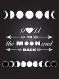 Inspirierend Zitat Liebeszitat, das ich liebe dich zum Mond und zur Rückseite mit Mondschwarzweiss-Plakat der verschiedenen Mondp Stockfoto