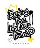 Inspirierend Zitat/T-Shirt Grafikslogant-stück/Textilvektordruckdesign lizenzfreies stockfoto