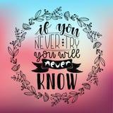 Inspirierend Zitat, wenn Sie Sie nie versuchen, weiß nie Hand schriftliche Kalligraphie, Bürste malte Buchstaben Druckdesign Lizenzfreie Stockfotos