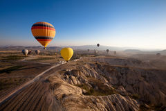 Inspiring beautiful landscape. With hot air balloons stock photography