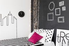 Inspiring bedroom interior. Original inspiring bedroom interior with trendy blackboard wall stock images