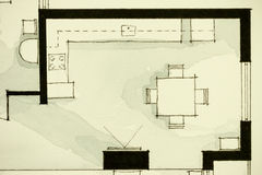 Inspiring black-and-white watercolor and ink illustrative material, showing condo apartment flat partial floor plan. Suitable for real estate property Royalty Free Stock Image