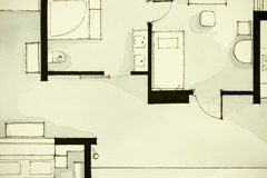 Inspiring black-and-white watercolor and ink illustrative material, showing condo apartment flat partial floor plan Stock Images