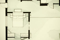 Inspiring black-and-white watercolor and ink illustrative material, showing condo apartment flat partial floor plan Stock Image