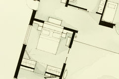 Inspiring black-and-white watercolor and ink illustrative material, showing condo apartment flat partial floor plan. Suitable for real estate property Stock Photo