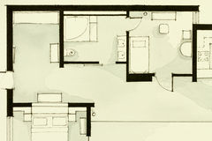Inspiring black-and-white watercolor and ink illustrative material, showing condo apartment flat partial floor plan. Suitable for real estate property royalty free illustration