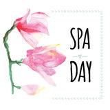 Inspiring card with quote SPA DAY. Typographic banner with text and hand painted flowers. Vector hand drawn badge with delicate water lily. Decorative mood vector illustration