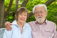 Inspiring couple in their 80's Stock Photography