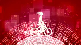 Abstract man is on a white bicycle. An inspiring 3d illustration of an abstract young man riding a white bicycle in the purple background. The round Earth with vector illustration