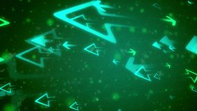 Abstract arrows attacking each other. Inspiring 3d illustration of big blue arrows attacking small green darts with numerous dots, spots, blurs,  x and y symbols Stock Photos