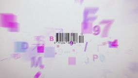 Small Barcode scanner illustration. Inspiring 3d rendering of an abstract Barcode scanning process with whirling symbols, numbers, figures of violet and pink Royalty Free Stock Photography