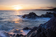 Inspiring and dramatic sea view, sunset over the ocean, Cornwall Royalty Free Stock Images