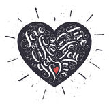 Inspiring heart shaped poster. Inspiring poster concept. Motivational lettering. Love the life you live. Positive quote with swirls in heart shape. Modern Stock Photo