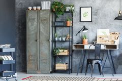 Inspiring home office with plants Stock Photo
