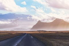 Inspiring landscape, road in mountains in Iceland stock photos