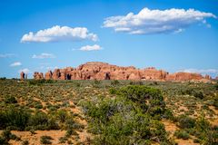 An Inspiring Look Around the Park. An inspiring look around the magnificent Arches National Park in southern Utah Royalty Free Stock Photos