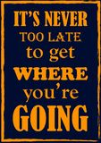 Inspiring motivation quote. It is never too late to get where you are going. Vector poster