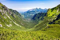 Inspiring Mountains Landscape View in Tatra Mountains. Inspiring Mountains Landscape View, sunny day in summer Tatras, mountain ridge over blue sunny sky, Poland stock image