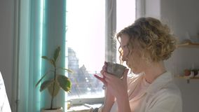 Inspiring painter woman enjoying work art on easel and drink hot tea from cup close-up against sunlit window in workroom stock video