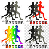 Inspiring poster with running people silhouettes Royalty Free Stock Photo