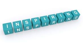 Inspiring sign. 3d letter blocks spelling word inspiring, white background stock photography
