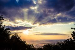 Inspiring sunset landscape, mountain view point Royalty Free Stock Image