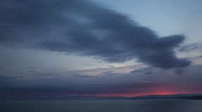 Inspiring and tranquil sunset over sea. Royalty Free Stock Photography