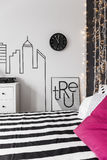Inspiring wall in bedroom Royalty Free Stock Images