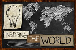 Inspiring The World on Blackboard Stock Images