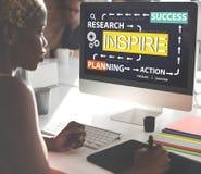 Inspiruje Badawczego Planistycznego akcja sukcesu pojęcie zdjęcie stock