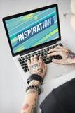 Inspiruje inspiraci positivity słowa pojęcie zdjęcia stock