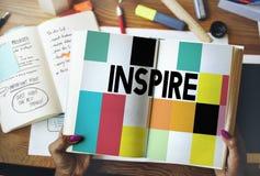 Inspiruje Inspirować inspirację Motywuje Wprowadza innowacje pojęcie Zdjęcia Stock