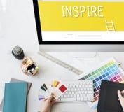 Inspiruje twórczość projekta pomysłów innowaci pojęcie obraz stock