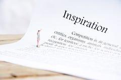 Inspriration文本焦点词 库存图片