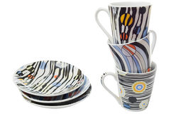 inställd disk för kaffekoppar Royaltyfri Fotografi