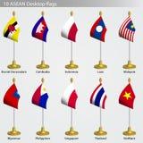 inställd tabell för asean flaggor Royaltyfri Foto