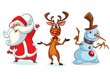 inställd tecknad filmteckenjul Vektorillustration av jul ren, snögubbe och Santa Claus Arkivbilder