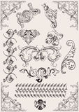 Inställd vektor: calligraphic designelement Royaltyfri Fotografi