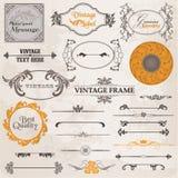 Inställd vektor: Calligraphic designelement Royaltyfria Bilder