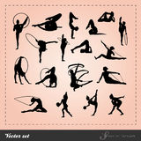 Inställd vektor - gymnastisk Silhouette Royaltyfri Fotografi