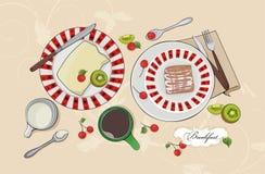 Inställd vektorfrukost - söt pie, frukter och coffe Arkivbild