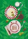 Inställd vektorfrukost - söt pie, frukter och coffe Arkivfoton