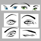 inställda ögon Stock Illustrationer