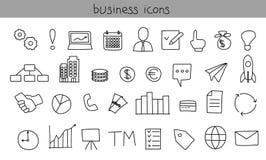 inställda affärssymboler Enkla svarta översiktssymboler Royaltyfri Bild