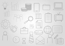 inställda affärssymboler Symboler för affären, ledning, finans, strategi, marknadsföring royaltyfri illustrationer